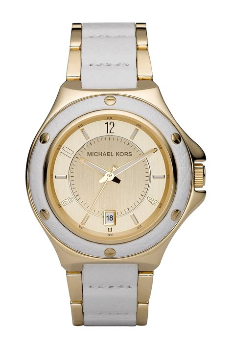 michael michael kors s white leather stainless