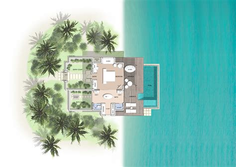 Floor Plan Of 4 Bedroom House by Maldives Pool Villas Pool Villas At Kuramathi