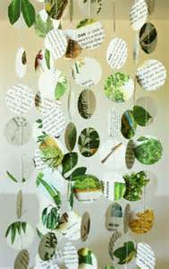 nature themed paper garland decorations in green and