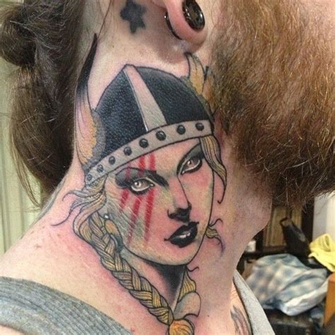 neck piece tattoo viking lady head neck piece by h 229 kan h 228 vermark tattoo