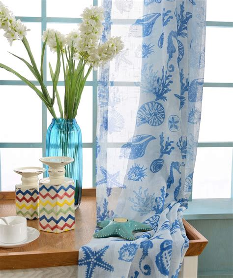 seashell sheer curtains two custom white and blue nautical sheer curtains made to