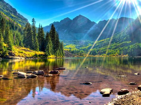 lake maroon bells usa colorado mountains  green forest