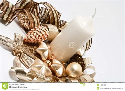 decoration for christmas in brown and gold stock image