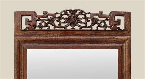 Colonial Style miroir ancien style asiatique fronton bois sculpt 233