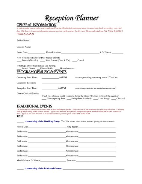 wedding planner contract template 6 best images of wedding reception planner printables