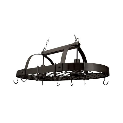 Ceiling Pot Rack With Lights Designs 2 Light Rubbed Bronze Kitchen Pot Rack