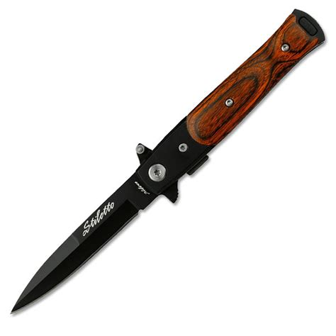 assisted knive tac assisted knife wood handle