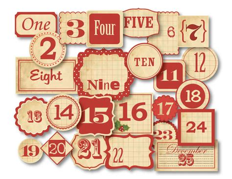 printable numbers vintage chic tags delightful paper tags christmas vintage red