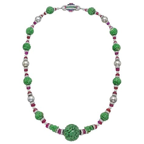 pearl bead necklace carved jade ruby pearl platinum bead necklace at