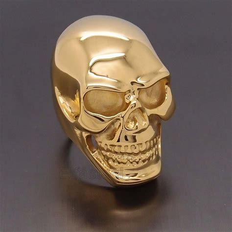 mens heavy gold skull 316l stainless steel biker ring