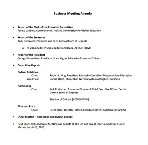 business meeting agenda 5 free sles exles format