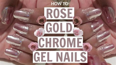how to gold chrome gel nails at home tutorial