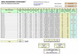 Restaurant Accounting Template by Restaurant Menu Engineering Workbook Restaurant Resource