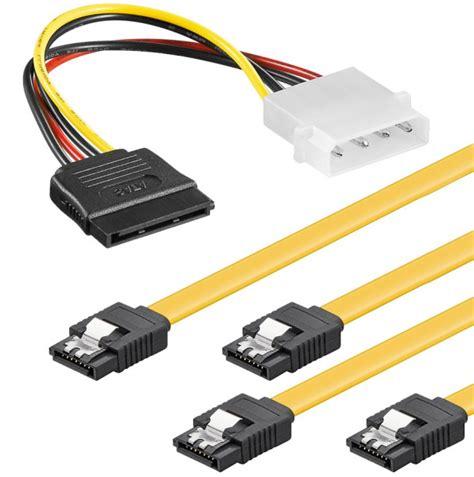 Kabel Sata Set baytronic sata kabel set 2x 0 5m mit verriegelung 4 pin