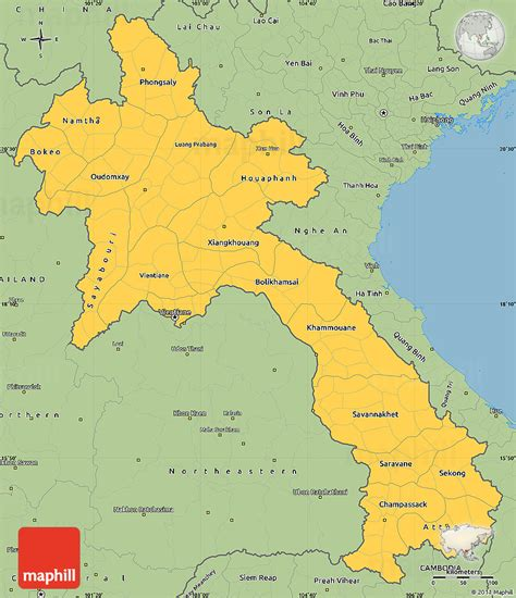 map of laos savanna style simple map of laos