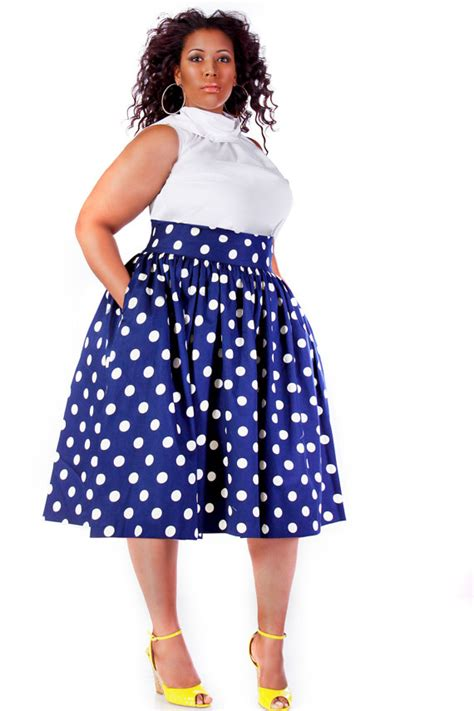 jibri plus size high waist flare skirt navy polka by