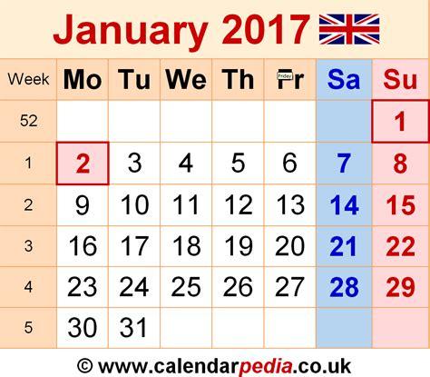january 2017 calendar printable with holidays weekly january 2017 calendar with holidays uk weekly calendar
