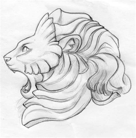 roaring lion pencil sketch stock illustration