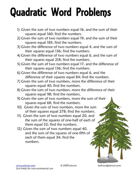 Word Problems With Quadratic Equations Worksheet by Worksheets Quadratic Equation Word Problems Worksheet