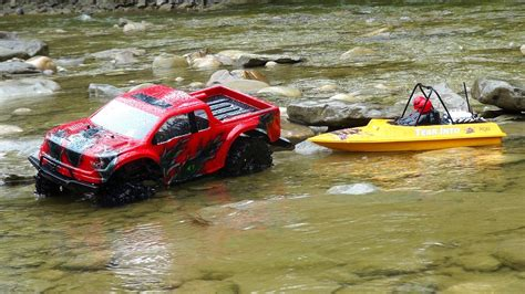 trails end boat r rc adventures ford raptor 4x4 modified nqd jet boat on