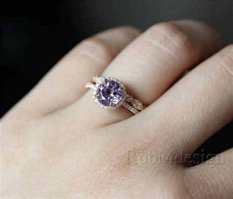 light amethyst engagement rings 14k rose gold lavender amethyst engagement ring set 7mm
