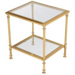 Glass End Tables Glamorous Vintage Solid Brass And Glass Two Tier End Or Side Table For Sale At 1stdibs