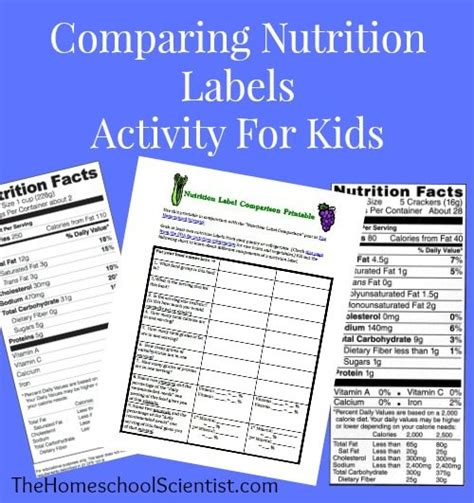 printable nutrition labels learning about nutrition labels free printables for kids