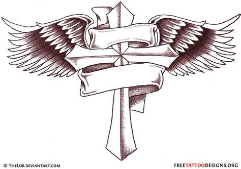 cross with banner and wings drawings