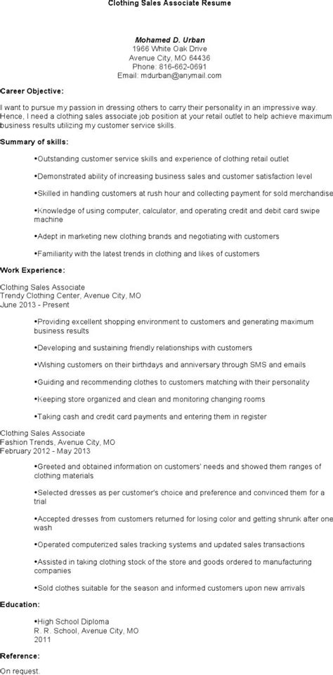 fashion resume sles sales associate resume templates free premium