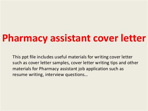 Bar Assistant Cover Letter by Pharmacy Assistant Cover Letter