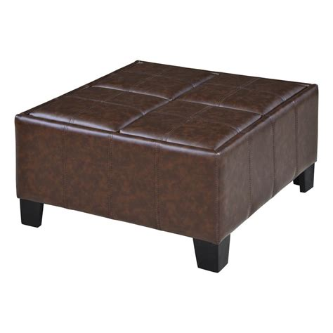 flip tray ottoman berkley chocolate brown faux leather flip lid storage tray