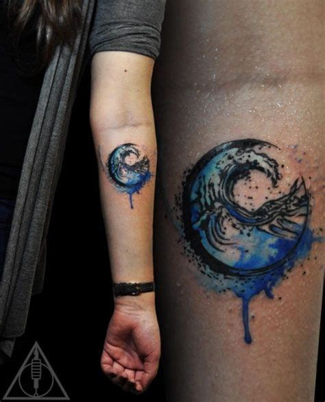 wave tattoos designs watercolor wave design by lili krizsan by angela