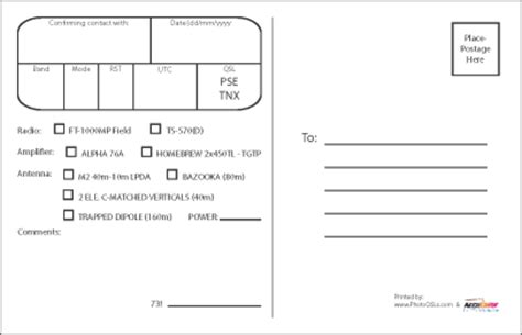qsl card templates free qsl card template qsl cards templates 199094 beautiful