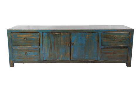 Low Chest Of Drawers Uk by Distressed Low Chest Of Drawers Blue By Home Elements
