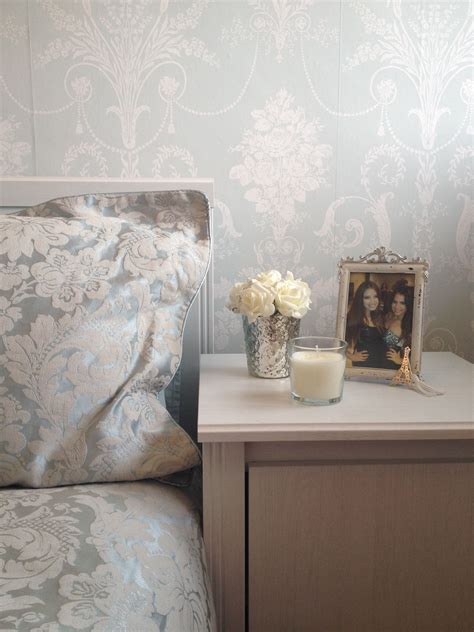 josette wallpaper gold duck egg bedside table feature wall damask laura ashley