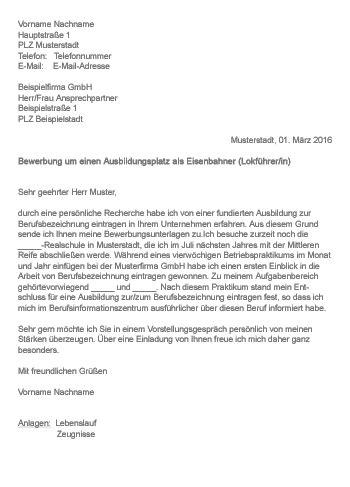 Anschreiben Ausbildung Deutsche Bahn Muster Gt Bewerbung Als Eisenbahner Lokf 252 Hrer In