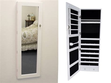 White Wall Mount Jewelry Armoire by White Mirrored Jewelry Cabinet Armoire Organizer Storage