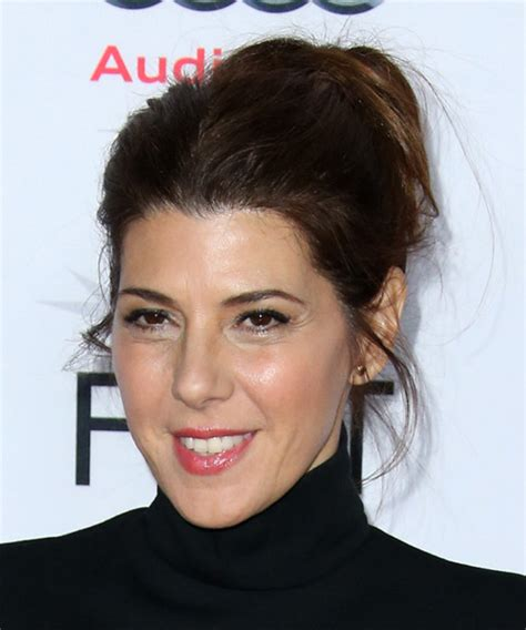 Marisa Tomei Long Straight Casual Updo Hairstyle   Dark