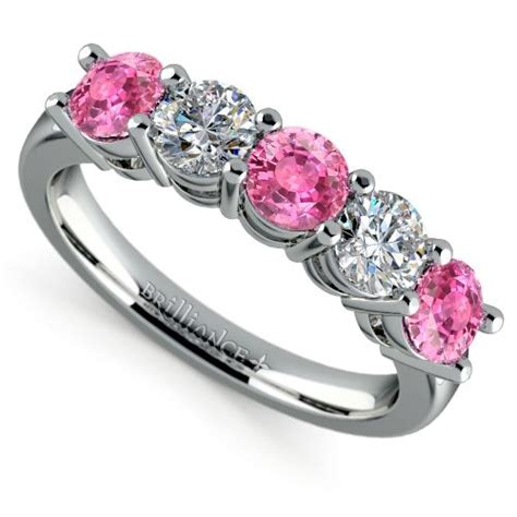 five pink sapphire wedding ring in white gold 1