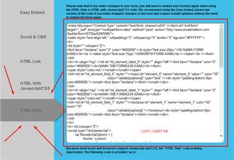 membuat html formulir membuat formulir di blog dengan emailmeform bedah trik