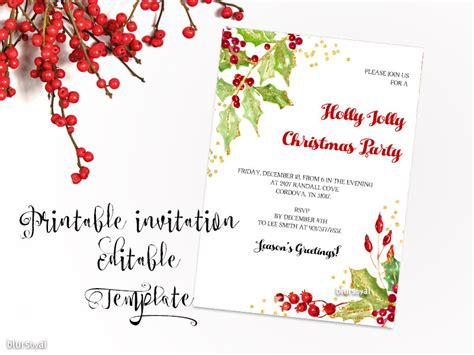 printable christmas party invitation template christmas