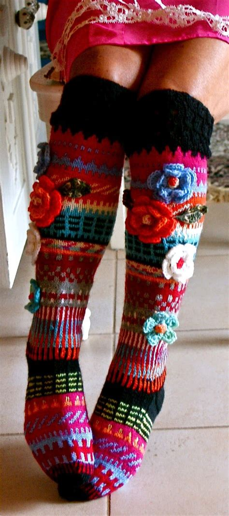 pattern for knee high socks with flowers 476 best knit socks slippers leg warmers images on