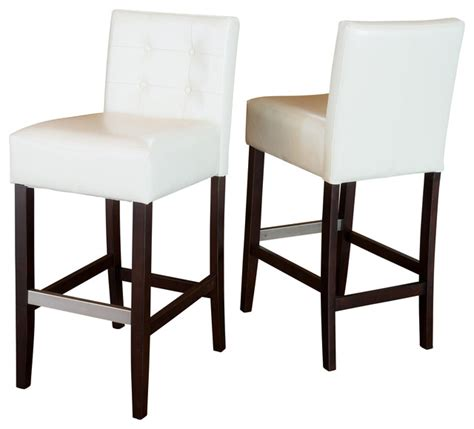 counter height leather bar stools gregory ivory leather back stool set of 2 ivory bar