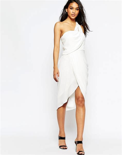 draped midi dress asos asos asymmetric one shoulder drape midi dress at asos