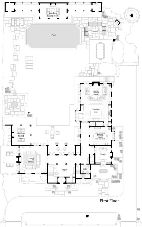 Two Story Courtyard House Plan 6382hd Architectural House Floors With Courtyard Pool U Shaped Plans In Middle