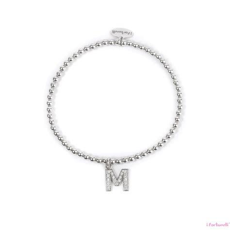 bracciale lettere bracciale argento lettera m con sfere da 3 mm i fortunelli