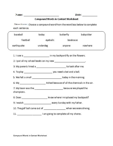 compound words in context worksheet great tools