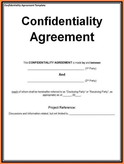 7 Generic Non Disclosure Agreement Template Purchase Agreement Group Non Disclosure Statement Template