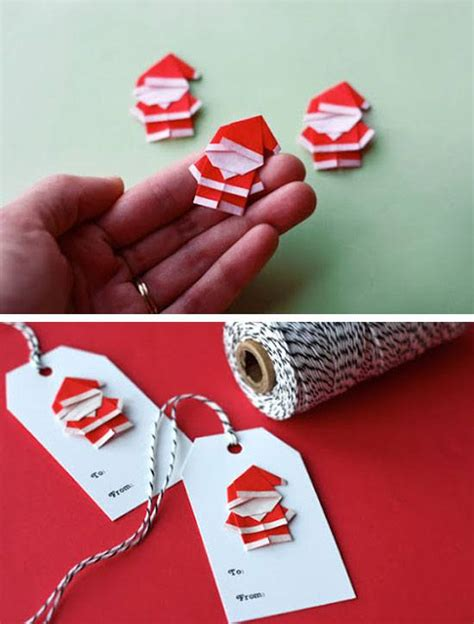 Origami Gift Tags - make origami santas for gift tags and ornaments click