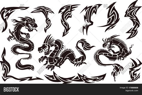 vector illustration iconic dragons vector amp photo bigstock